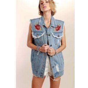 POL embroidered jean jacket vest